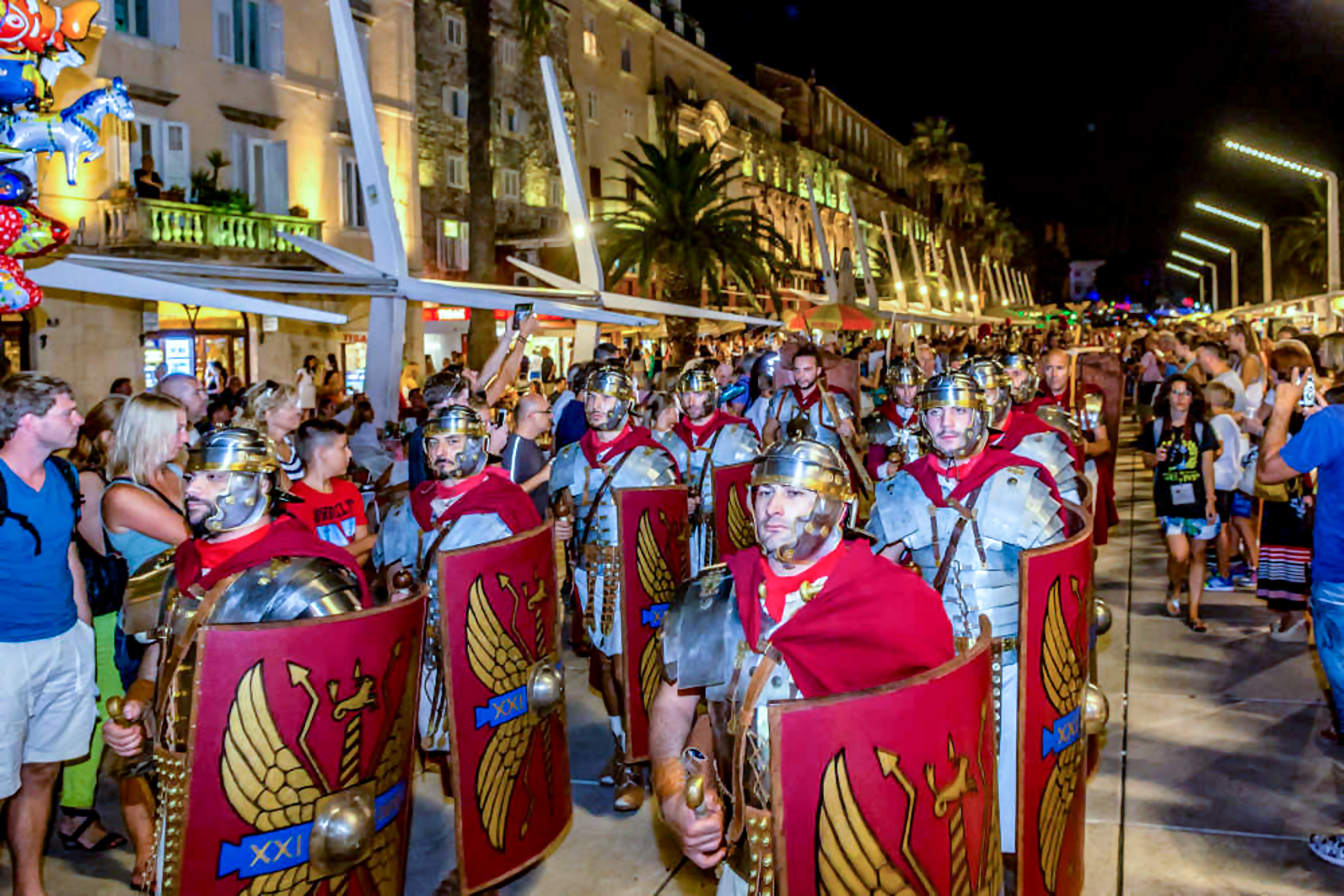 Roman Soldiers Marching the Streets in Split