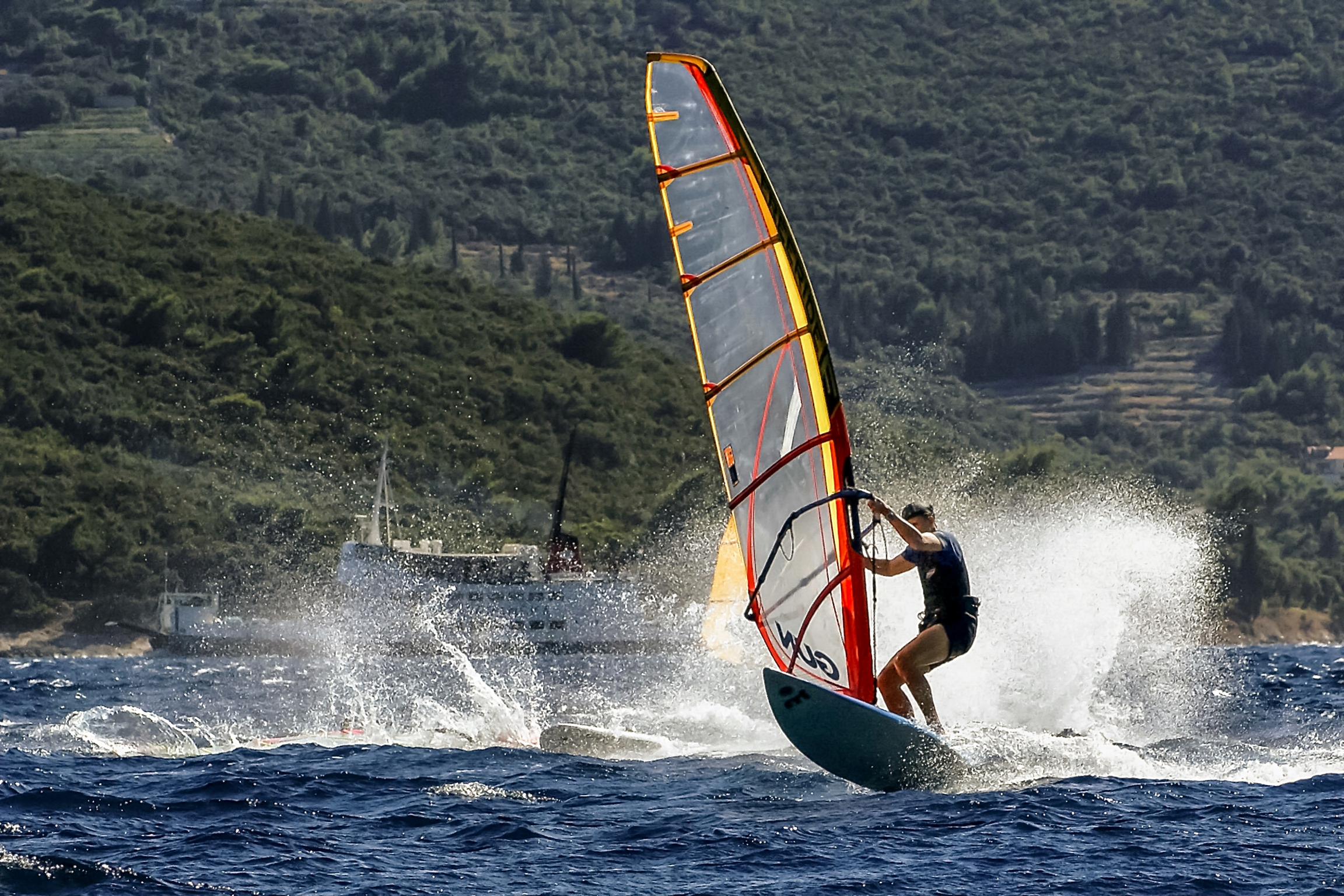 Having Fun Windsurfing Along the Croatian Coast