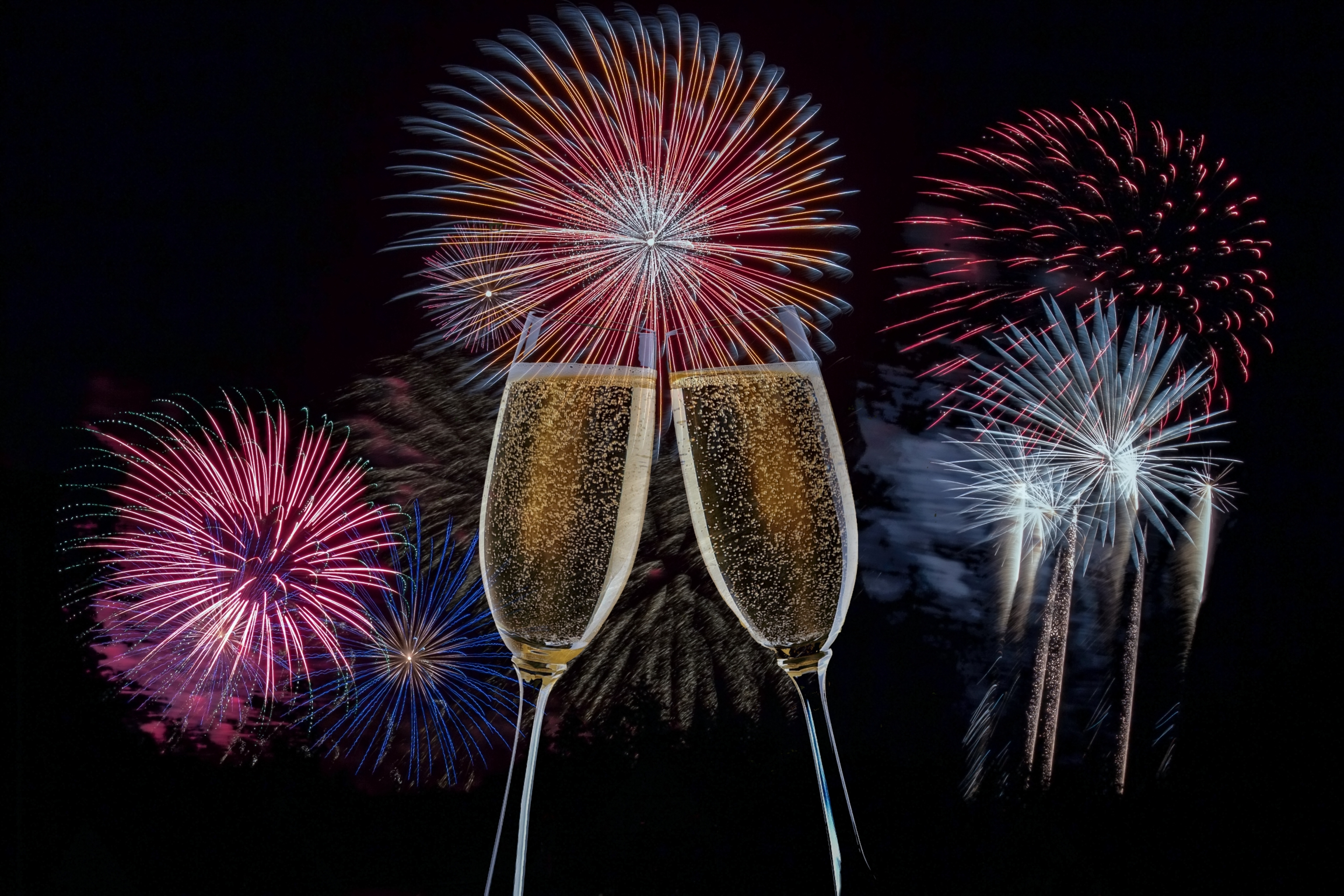 Watching Fireworks and Toasting Champagne