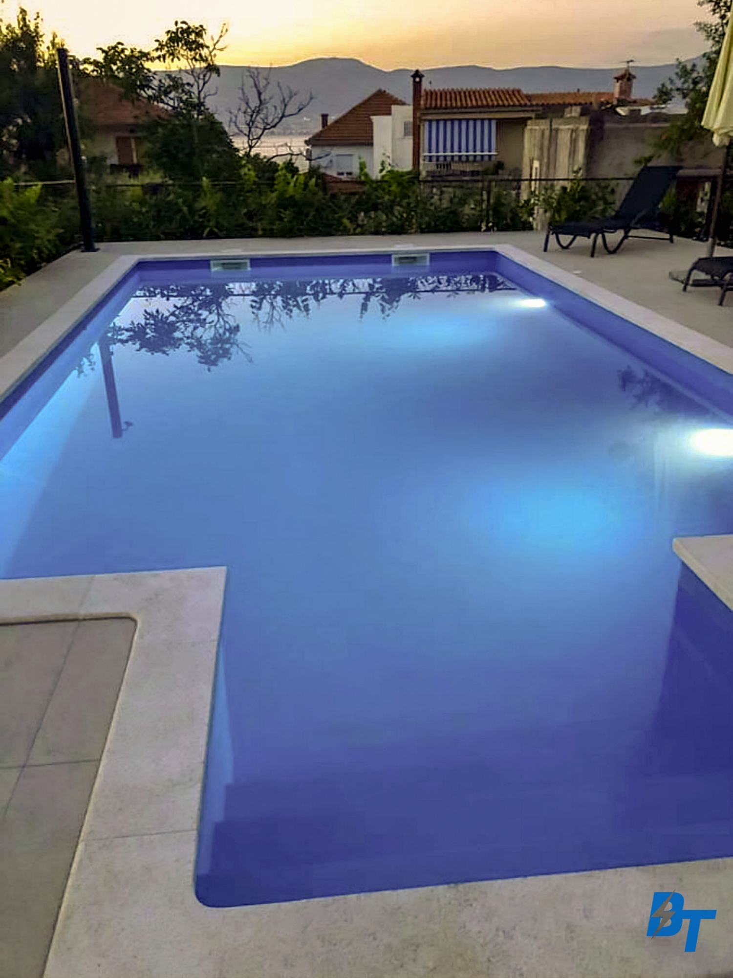Enjoy Swimming in the Pool in the Evening