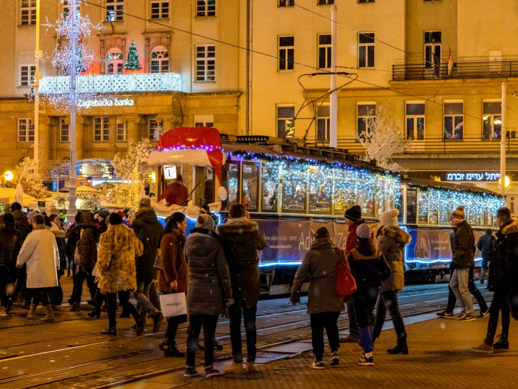 Riding on a Christmas Tram at the Zagreb Christmas Market (Advent in Zagreb)